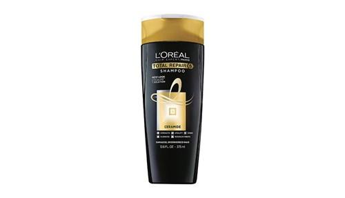 LOreal Total Repair Shampoo شامبو يحل خمس مشكلات بمكون واحد وهو السيراميد إذ يحد من التساقط ويعيد بناءه ويغذيه ويكسبه القوة واللمعان.