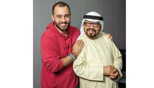 جاسم عبيد وحسان الشيخ في استوديو إذاعة أبوظبي