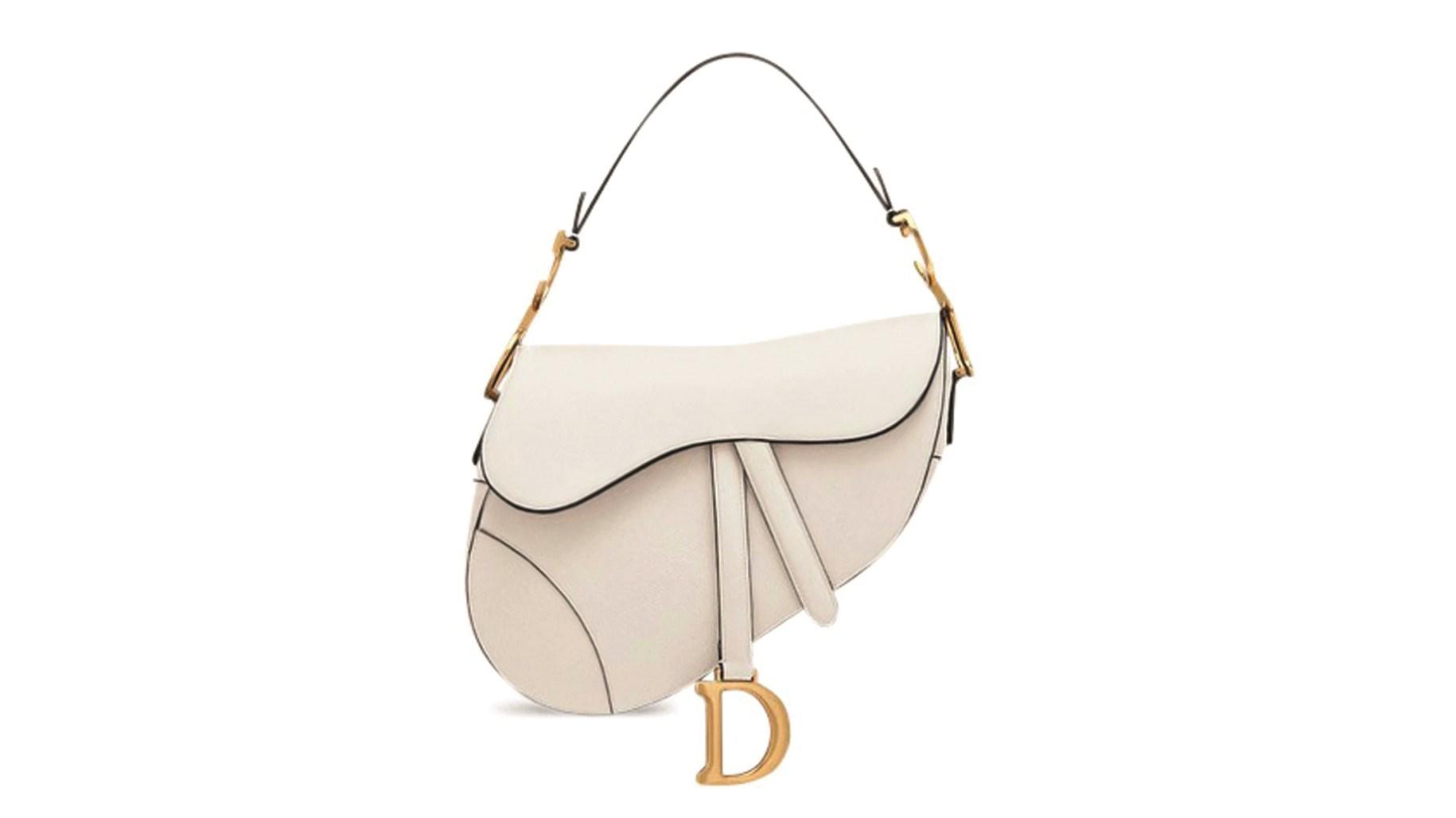 حقيبة Saddle جلدية بيضاء من Dior
