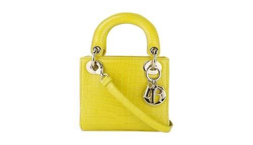 Dior  حقيبة Mini Lady Dior Croco باللون الأصفر